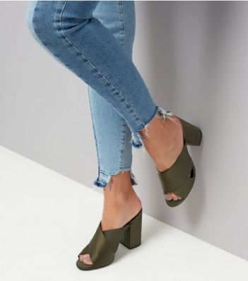 khaki-satin-cross-strap-heeled-mules